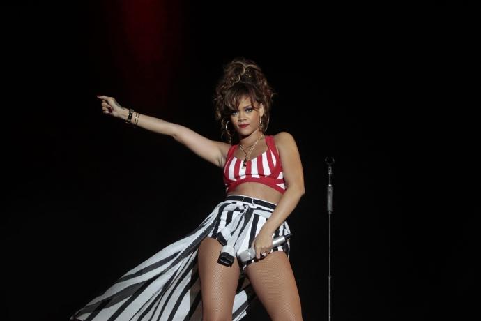 Rihanna no palco do Rock in Rio, em 2011